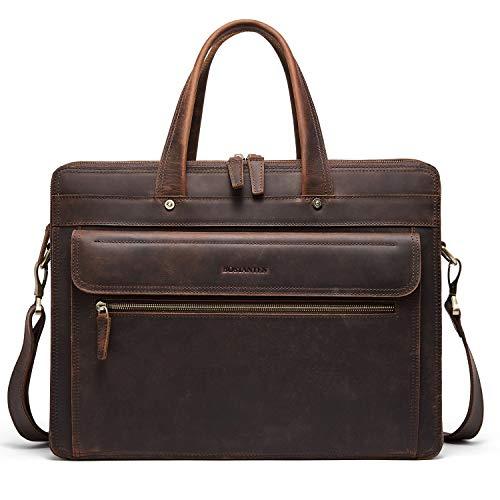BOSTANTEN Genuine Leather Briefcase Vintage Men's 15.6″ Laptop Bag Large Shoulder Bag