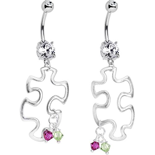 Body Candy Handcrafted Custom Puzzle Piece Belly Ring Set Created with Swarovski Crystals