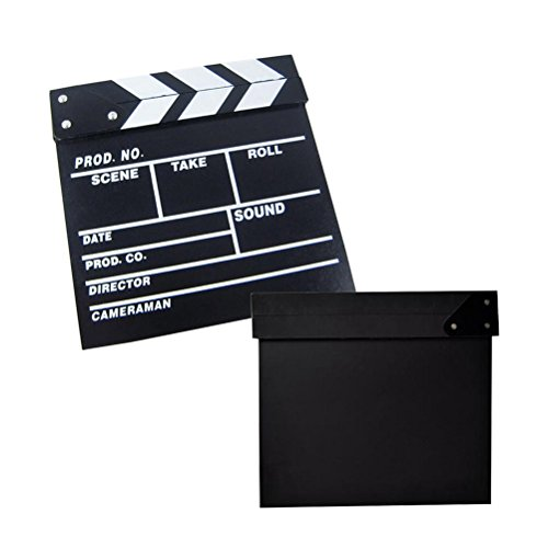 Clapper Board Odowalker Black Clapperboard Clap-stick Dry Erase Cut Action Scene For Hollywood Camera Film Studio Home Movie Video 7.87x7.87 inch (Movie Scene Board)