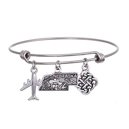 - JJTZX State Bangle U.S. Map Charm Expandable Travel Bracelet Long Distance Relationship Gift Best Friends Bracelet (Nebraska)