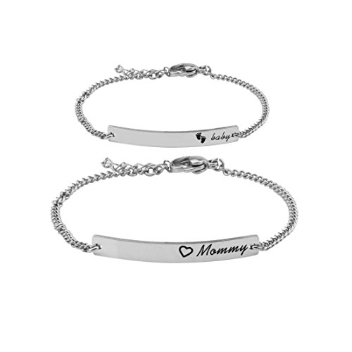 Ensianth Mommy Baby Jewelry Mommy Baby Bar Bracelet Set Infant Toddler Jewelry Baptism Bracelet Gift for Baby (Silver Set)