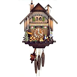 Original One Day Movement Cuckoo Clock with Moving Bell Ringer and Chimney Sweeper 13.5 Inch