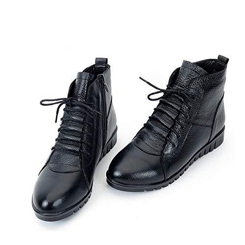 Botines Mujer Cordones Pingxiannv Planos Invierno Zapatos Con Botas Mujeres De Cuero Nieve Para UnUI4OxFEq