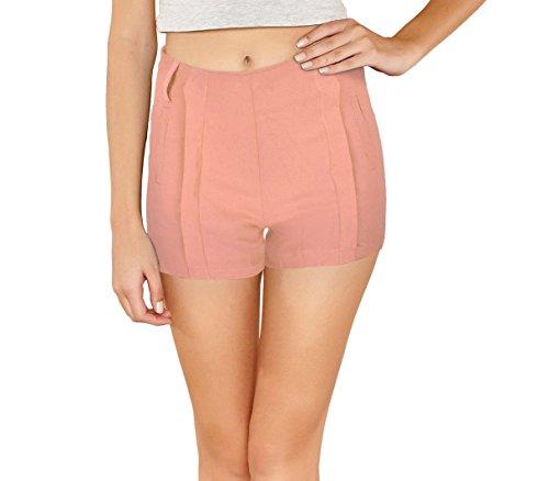 Nice elastico tessuto morbido S mod donna WAVE store pantaloncino M zip F9337 Shorts MEDIA Rosa in con 7CYOfwFq