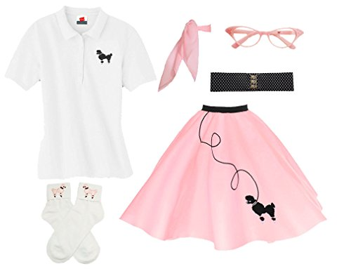 Hip Hop 50s Shop Adult 6 Piece Poodle Skirt Costume Set (Medium, Light Pink) by Hip Hop 50's Shop