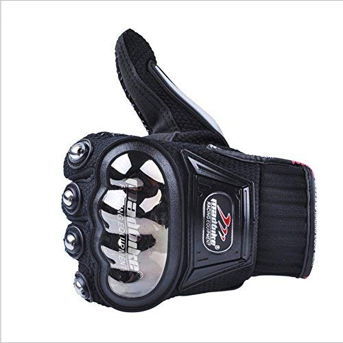 Carbon Fiber Motorcycle Motorbike Cycling Racing Full Finger Gloves (L, Black)