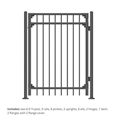 (XCEL - Black Steel Fence Gate Cortina Style Flat End Pickets - 4ft W x 5ft H - DIY Installation Kit, for Outdoor, Yard, Patio, Entry Way, on Soil or Concrete, 3-Rail Mental Gate)