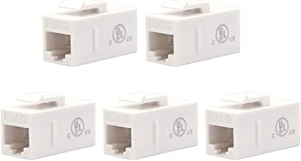 5 Pack White CAT5e Inline Coupler Keystone RJ45 Female Snap-In Jack Insert