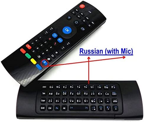 Color: Russian with Mic Calvas English Russian TK3 Microphone Voice Air Mouse Keyboard IR Learning for Android Smart TV Box PK MX3 T3 Remote control