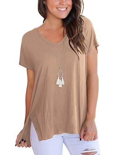 Aokosor Womens Short Sleeve Summer Basic Tops Loose Plain Shirts Oversized Tees Khaki