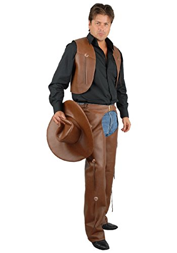 Lion Pants Dance Costumes (OvedcRay Adult Mens Cowboy Western Costume Wild West Faux Leather Chaps & Vest And)