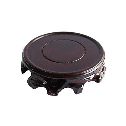 CVHOMEDECO. Rustic Antique Solid Wood Circular Display Stand Vase Pot Base Fishbowl Pedestal Stand. (3.15