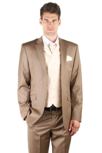 Dymastyle Hochzeit Anzug 3 Teilig Super 150 Dark Beige Beige