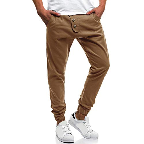 hion Men's Button Down Sport Fitness Belts Daily Casual Drawstring Jogger Pant(XX-Large,Khika) ()