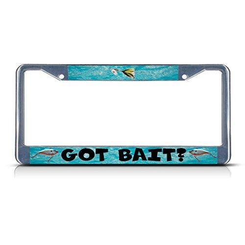 Fastasticdeals Got Bait Fishing Fish Chrome Metal License Plate Frame Tag Holder