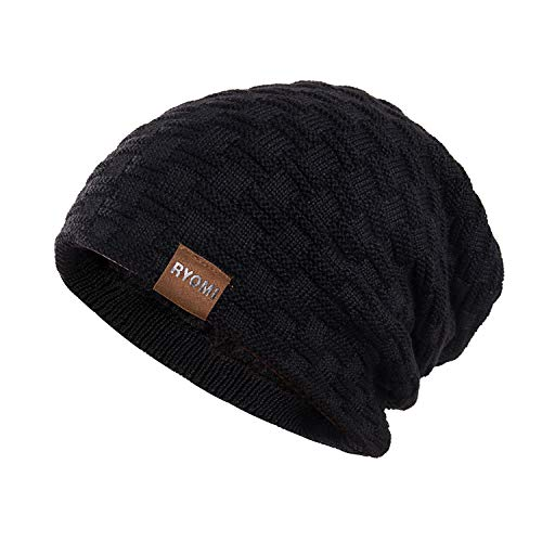RYOMI Slouchy Beanie Hat for Women and Men, Variy Styles and Colors Fleece Lined Oversized Winter Warm Knit Cap Black