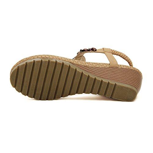 Frestepvie Tongs Flops Sandales Femme Bohême Plat Flip File Compensées Casual De Peep Beige toe Chaussure Eté Plage r1qwr5v