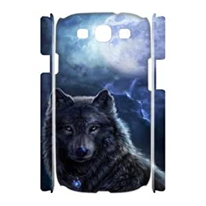 SHJFDIYCase Design Personalized Wolf Moon Hard Protective Back 3D Cover Case for Samsung Galaxy S3 I9300, Personalized Phone Case SHJF-520956