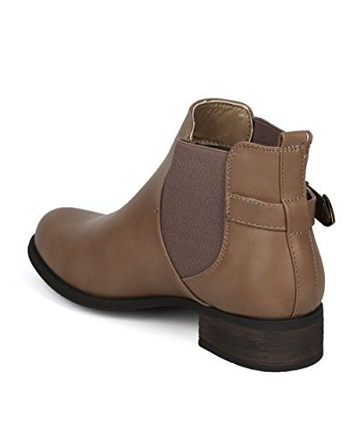 Alrisco Women Chelsea Motorcycle Belted Ankle Boot Bootie - Casual Chic Versatile Festival Motorcycle Ankle - HE85 by Refresh Collection Taupe Leatherette Ipuxw9K