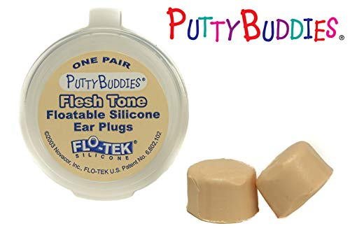 Putty Buddies Floating Earplugs 10-Pair Pack - Soft Silicone Ear Plugs for Swimming & Bathing - Invented by Physician - Keep Water Out - Premium Swimming Earplugs - Doctor Recommended (Tan) by Putty Buddies (Image #2)