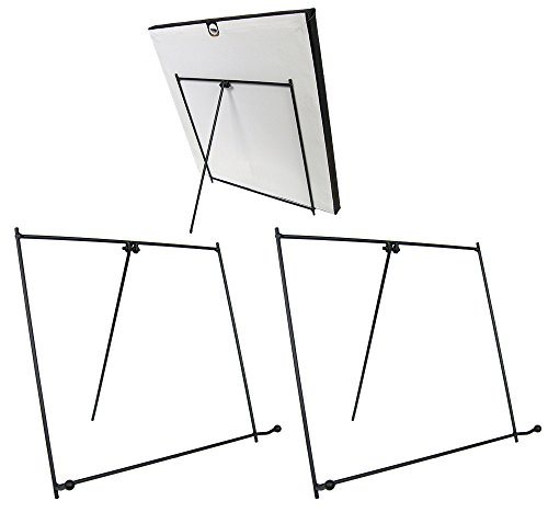 BANBERRY DESIGNS Black Metal Easels Wrought Iron Display Stands - 9 Inch - Set of 3