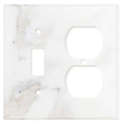 Italian Calacatta Gold Marble Switch Plate Cover, Honed (TOGGLE ()