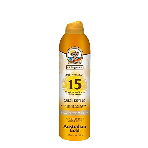 Spf 15 Sunscreen Protection - Australian Gold Continuous Spray Sunscreen, Dries Fast, Broad Spectrum, Water Resistant, Reef Safe Sunscreen, Cruelty Free, Paraben Free, PABA Free, Oil Free, Dye Free, Alcohol Free, SPF 15, 6 Ounce