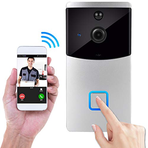 Doorbell, Wireless IP Security Camera Outdoor Surveillance System Doorbells with Motion Detector and Battery for Home(White)