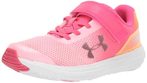 Under Armour Girls' Pre School Surge RN Prism Adjustable Closure Sneaker Tempest, Pop Pink (601)/Pinkadelic, 12K
