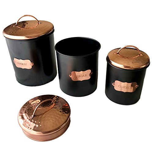 Copper Kitchen Food Canister Sets by Kauri Design | Decorative Food Storage Jars with Lids | Made for Flour, Sugar, Coffee - Matte Black, Set of 3