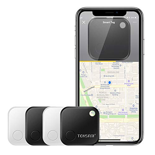 4 Pack Key Finder,Phone Finder,Bluetooth Tracking Locator for Keys,Wallet,Bag,Luggage,with App Control,Smart Anti Lost Alarm,for iPhone iOS/Android Compatible[Replaceable Battery/Long Standby Time