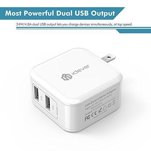 iClever BoostCube Cargador de pared doble USB de 24 vatios con tecnología SmartID, conector plegable, adaptador de viaje para iPhone Xs /XS Max /XR /X /8 Plus /8/7 Plus /7 /6S /6 Plus, iPad Pro Air /Mini y otros Tableta