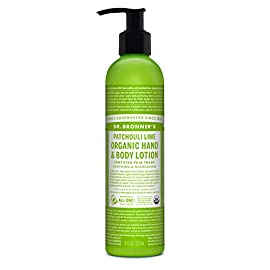 Dr. Bronner's - Organic Lotion (Patchouli Lime, 8 Ounce) - Body Lotion and Moisturizer, Certified Organic, Soothing for Hands, Face and Body, Highly Emollient, Nourishes and Hydrates, Vegan, Non-GMO 6 USDA ORGANIC & FAIR TRADE INGREDIENTS: Dr. Bronner's Organic Lotions are formulated with organic jojoba oil to heal & soothe, organic coconut oil to moisturize, organic hemp & avocado oils to keep skin smooth & supple. OK! ONLY THE PUREST, ORGANIC ESSENTIAL OILS & INGREDIENTS: Dr. Bronner's is committed to providing the purest ingredients for our customers. That's why only the finest organic essential oils are used for fragrance-breathe deeply! GENTLE ENOUGH FOR MOST SKIN TYPES: Great for sensitive, dry, rough, or combination skin! Our Organic Lotions can be used on hands, face, body & everywhere! Give your skin a treat with this rich, nourishing lotion-massage deeply!