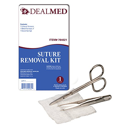- Dealmed Sterile Suture Removal Kit with Scissor, Forceps, and Gauze Sponge, Single-Use, 1 Kit