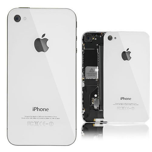 brand new 37186 3994b WHITE REAL GLASS iphone 4 AT&T Back Housing Back Cover Battery Replacement  Door Glass. Full Housing with frame..