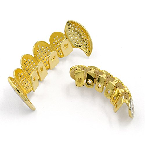 JINAO 18k Gold-Tone All Iced Out Luxury Rhinestone Hip Hop Bling Vampire Fangs Gold Grillz set with EXTRA Molding Bars Included (vampire gold set)