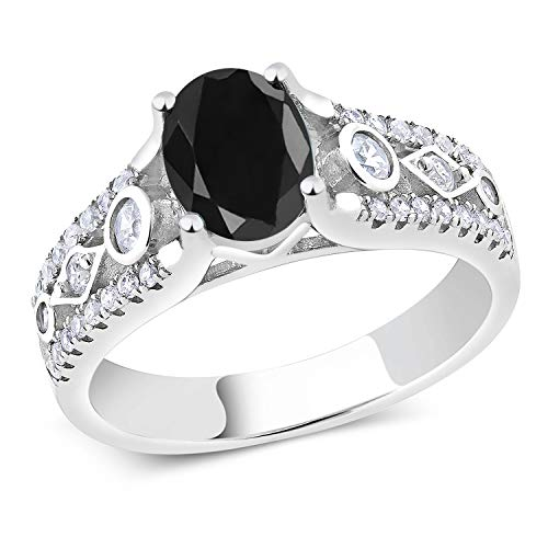 - 2.22 Ct Black Sapphire 925 Sterling Silver Engagement Ring (Size 6)