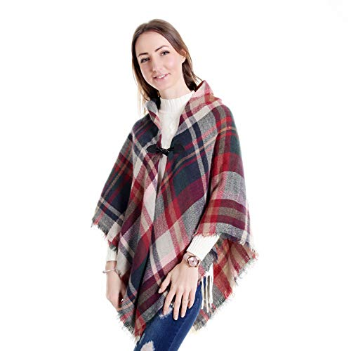 Women Poncho amp;Stylish Tassel Shawl V Poncho Design Sweater Buttons Tiannuofa Shawl Fitting Loose Cape Poncho amp;V Hem Plaid Horn Cardigan Wrap by Coat Neckline dHzqWv