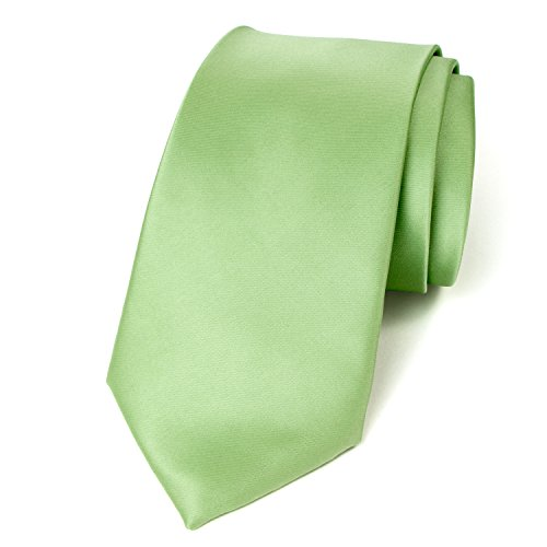 Spring Notion Men's Solid Color Satin Microfiber Tie, Regular Sage - Paisley Satin Tie