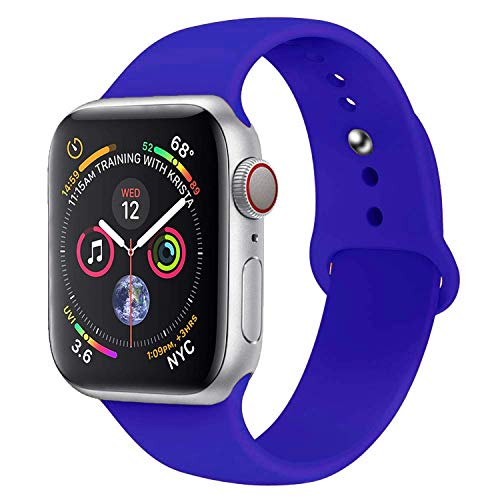 (SHJD Watch Band 38MM 42MM 40MM 44MM,Soft Silicone Sport Strap Replacement Band Compatible with iWatch Series 1/2/3/4 S/M M/L(Royal Blue, 42mm/44mm M/L))