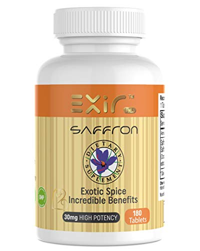 Cheap Exir Saffron + Saffron Extract Supplements 180-Tablets | Helps Digestion, Boosts Energy, Memory, Concentration