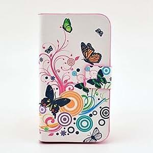 YULIN Mariposa patrón pu estuche de cuero con cierre magnético y la ranura para tarjeta para Samsung Galaxy S3 I8190 mini-