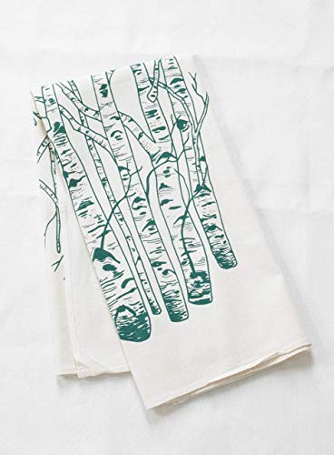 "Tea Towel - Organic Cotton - Birch Tree Design in Dark Green - 30"" x 30"""