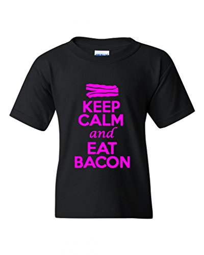 Keep Calm And Eat Bacon Statement Novelty Youth Kids T-Shirt Tee (Large, Black w/NeonPink)