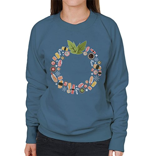 Sushi Women's Sweatshirt Coto7 Blue Christmas Wreath Indigo Pattern SwPwgqdW8