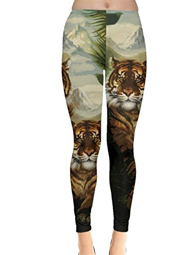 (CowCow Womens Forest Tiger Dark Green Vintage Paint Stretchy Leggings - L)