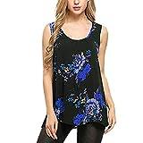 Quealent-shirt Women's Sleeveless Floral Print V Neck Henley Tank Tops Blouse Shirts Tunic Blue