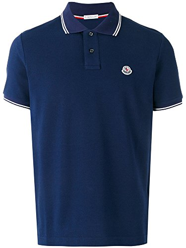 Moncler Men's Classic Tipped Piqué Polo Shirt (Dark Blue, - Blue Moncler