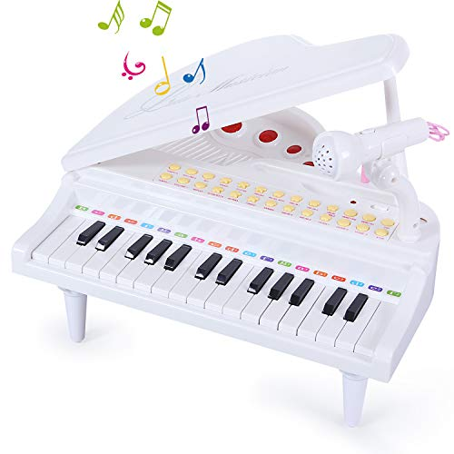 31 Keys Piano Keyboard Toy with Microphone, Electronic Musical Multifunctional Instruments for Girl Toddlers Kids Musical Talent Development, Audio Link with Mobile IPad PC, Pink