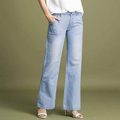 Ancha Pierna Jeans Cintura 9 Hembra Rectos Azul Pantalones Alta De Holgados 26 Vaqueros Puntos Bastante Mezclilla SH0UqwY1